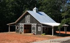 Barn Plans - Ten Stall Horse Barn With Tack and Feed. Horse Barn Plans for sale. Large selection of Horse Barn Plans For Sale. Horse Barn Plans, Barn House Plans, Cabin Plans, Cabana, Small Horse Barns, Metal Horse Barns, Horse Barn Designs, Tiny House, Barn Stalls