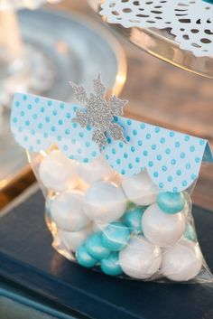 Frozen inspired Nordic Winter birthday party : Treat Bags Idea