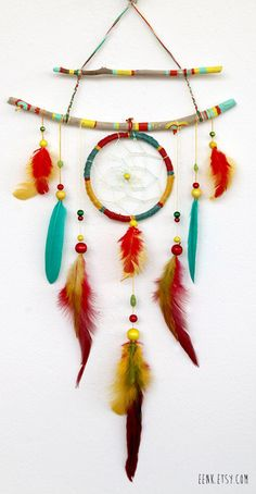 ☆ The Shaman's Journey Native Rasta Dream Catcher Feather Mobile :¦: Etsy Shop: Eenk ☆ Diy And Crafts, Kids Crafts, Arts And Crafts, Los Dreamcatchers, Diy Dream Catcher Tutorial, Feather Mobile, Feather Dream Catcher, Wind Chimes, Nativity