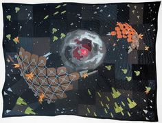 Such an amazing quilt. I'm inspired to make something like this... Attack on the V838 Energy Collectors V2 by Jimmy McBride/StellarQuilts