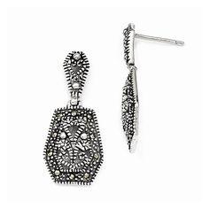 Sterling Silver Marcasite Dangle Post Earrings
