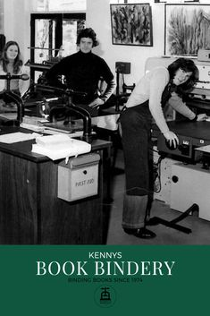 Kennys Book Bindery first opened its doors in 1974 in Salthill, Galway Ireland. Galway Ireland, Book Binding, Tandem, Over The Years, Hand Sewing, This Is Us, Doors, Traditional, Sewing By Hand