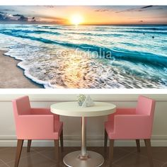 Sunrise over beach in Cancun  MaMurale.com