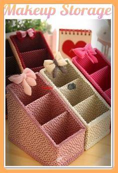 New Jewerly Organizer Box Makeup Storage Ideas Cardboard Organizer, Cardboard Crafts, Diy Box Organizer, Diy Jewellery Box Cardboard, Cardboard Boxes, Diy Home Crafts, Diy Arts And Crafts, Diy Para A Casa, Makeup Storage Box