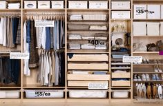 Ikea Komplement drawers. Put in a Pax wardrobe for deep storage.