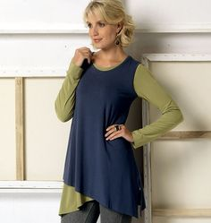 Schnittmuster Designer Lagenlook Shirt Vogue 9057 - Maschinensticken, Nähen, Schnittmuster, silkes-naehshop.de