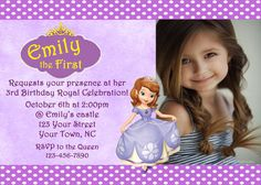 Sofia the First invitation by colorfulwonder on Etsy