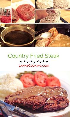 Country fried steak is an old deep south classic. Cubed round steak, well seasoned and dredged in flour then fried to a golden brown. Fried Cube Steaks, Chicken Fried Steak, Beef Recipes, Cooking Recipes, Family Recipes, Country Fried Steak Recipe, Deer Steak, Chopped Steak, Beef Stew Meat