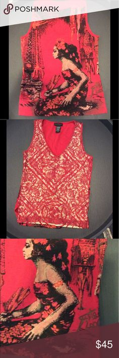 SIGNED vintage Custo tank Lace v-neck front + print and designer signature on back, Custo Barcelona Tops Tank Tops