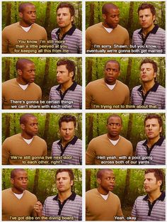 shawn & gus's epic bromance! oh how I love psych.  @Elissa Eblin Schlosser can we be neighbors have a pool reaching both yards? :)