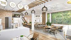 Cafe Shop Design, Restaurant Interior Design, Commercial Interior Design, Commercial Interiors, Modern Interior Design, Store Design, Juice Bar Design, Cafe Concept, Cafe House