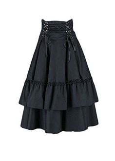 AvaLolita Lace up High-waist Black Cotton Classic Lolita Skirt, Customized, Black AvaLolita To purchase just click on Amazon right here http://www.amazon.com/dp/B00L3ZD4UY/ref=cm_sw_r_pi_dp_xhGPtb0RYDE4CTX6