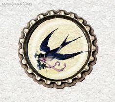 -f050c- Kronkorken Magnet,VINTAGE SCHWALBE, € 2,80 , bottlecap von Mondcatze´s Zauberwerkstatt auf http://de.dawanda.com/shop/Mondcatze