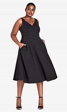 3bcc73ec88 Shop Women s Plus Size Cute Girl Fit  amp  Flare Dress - Black