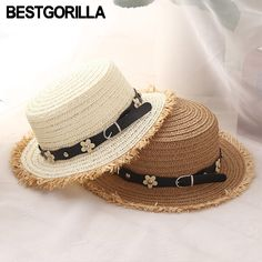 036099fc Fashion woman sun hats British style flat top rough edge hand made straw  hat female leather belt casual shade summer beach cap -in Sun Hats from  Women's ...