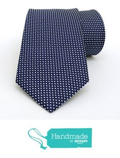 "Dark blue and white dotted men's tie 8 cm (3,15"") DK-094 from Nazo Design… #handmadeatamazon #nazodesign"