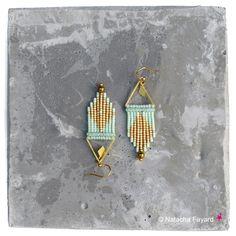 Mint pastel green dangle earrings, micro macrame & miyuki delica weaving.   © Natacha Fayard  #mint #pastel #green #dangle #earrings #weaving #woven #miyuki #delica #macrame #micromacrame #jewelry