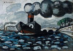 'The Blue Tugboat' by French artist Auguste Chabaud (1882-1955). Oil on cardboard, 53 x 74 cm. via invaluable