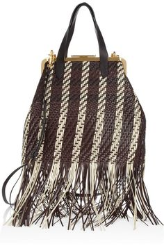 Marni Fringed woven leather bag