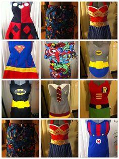 Harley Quinn, Wonder Woman, and the mesh aprons. <3
