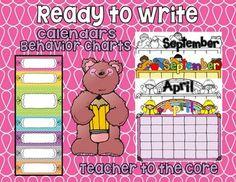 Blank, Ready to Write on Calendars and Charts from #TeacherToTheCore @katiehappymom #classroommanagement #elementaryteacher $