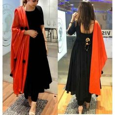 Ready Made Dresses : Black Cotton Anarkali Salwar Suit Simple Kurti Designs, Stylish Dress Designs, Kurta Designs Women, Salwar Designs, Stylish Dresses, Kurti Back Designs, Stylish Kurtis Design, Designer Party Wear Dresses, Kurti Designs Party Wear