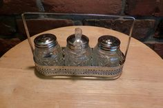 Vintage Condiment Caddy, Condiment set, Condiment caddy set, Vintage cruet set, Condiments tableware, metal and glass tableware by Morethebuckles on Etsy