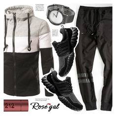 """""""Rosegal men's monochrome hoodie"""" by vn1ta ❤ liked on Polyvore featuring Carolina Herrera, modern, men's fashion and menswear"""