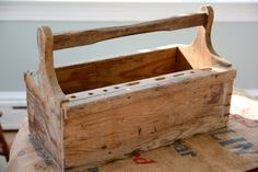 Primitive Wooden Tool Box Caddy Magazine Storage
