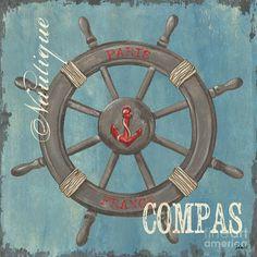 La Mer Compas Painting  - La Mer Compas Fine Art Print