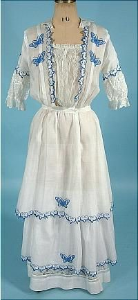 c. 1910 Bright White Cotton Batiste Lawn Dress with Sky Blue Embroidered Butterflies and Trim