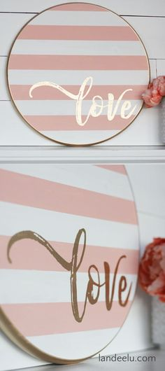 Grab a wood round from your local DIY store and make this darling striped Valentine's Day craft. a painted wood sign! valentines day crafts for him Valentine's Day Craft: Striped Round LOVE Sign Valentines Day Food, Valentines Day Decorations, Valentine Day Crafts, Be My Valentine, Vintage Valentines, Diy Wood Signs, Painted Wood Signs, Hand Painted, Diy Laden