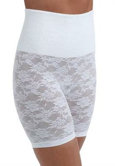 Brief in stretch lace with belly band shaping, long legs | Plus Size Shapewear | OneStopPlus