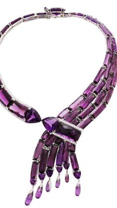Amethyst and Diamonds White Gold Waterfalls Necklace by Prince John LANDRUM BRYANT. 18k. White Gold. Custom-Cut Single Amethysts. 478 Round, Brilliant-Cut Diamonds (9.90ct). 6 months to Fabricate to achieve the Balance and Flexibility of this Amazing Cascade of Purple. This piece was made in Manhattan entirely by hand, and was cast, one at a time, using the lost wax process. Prince John Landrum Bryant Created and Designed this piece and Supervised its Fabrication. •$235,000 (€199,326.13) Gemstone Jewelry, Beaded Jewelry, Jewelry Box, Fine Jewelry, Jewlery, Purple Jewelry, Pink Bling, All Things Purple, Shades Of Purple