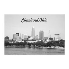 Cleveland Ohio Edgewater View B&W Canvas Print
