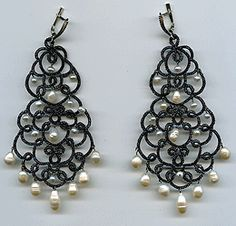 """Earrings lace of frivolite exclusive :: A lace """"frivolite"""" of Elena Ignatova, master of folk creation, Ukraine, Kharkov :: Jewellery knot shuttle lace of frivolite (schiffchenspiize), ear-rings, bangles, necklace, natural stone and skin with a lace, style """"The Gothic Black-art"""""""