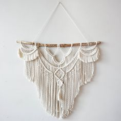 """Large 30"""" Macrame Wall Hanging tapestry macrame decor boho decor wall... ($168) ❤ liked on Polyvore featuring home, home decor, wall art, new york wall art, branch wall art, macrame wall hanging, ny wall art and handmade wall art"""
