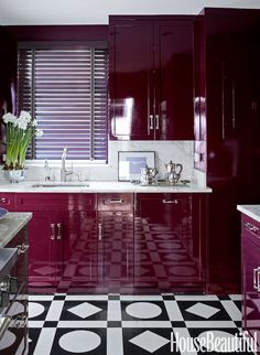 Our Hollandlac Brilliant in a wine red, kitchen designed by Nick Olsen Style