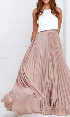 Fabulous Beige Maxi Skirt This silk skirt makes her look wealthy.