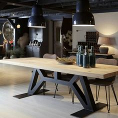 60 Vintage Wood Industrial Furniture Design Ideas Decorating Ideas Home Decor Ideas and Tips Oturma Odası Industrial Design Furniture, Industrial Interiors, Industrial Table, Furniture Design, Industrial Office, Industrial Farmhouse, Industrial Restaurant, Industrial Lighting, Industrial Closet