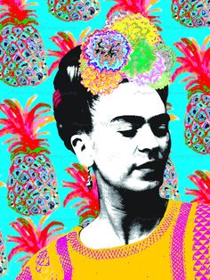 Retrato de Frida Kahlo en Fondo Azul con Piñas Archivo Descargable Photo Collage Modernista Bohemio