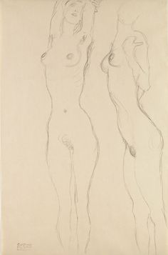 Gustav Klimt - Two standing female nudes 1916 Gustav Klimt, Klimt Art, Figure Painting, Figure Drawing, Painting & Drawing, Art Sketches, Art Drawings, Erotic Art, Figurative Art