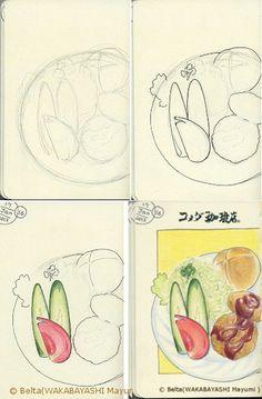 2013_01_18_drawing process  drawing process    Komeda cafe 、Japan    コメダ珈琲店のコロッケ    pen,colored pencil and Moleskine sketchbook
