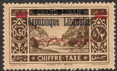 """Lebanon   1928 Postage Due Scott J26 50c brown/yellow """"Ancient Bridge across Dog River""""  A postage due stamp of 1925, overprinted for the Lebanon Republic in 1927, and then overprinted again in red with Arabic script in 1928."""
