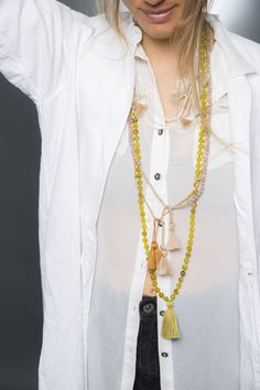 Layers~~Mood....Gemstone Necklace, Mala Beads, Bohemian Jewellery, Colourful Necklaces. #More is more Gemstone Necklace, Gemstone Beads, Tassel Necklace, Necklaces, Bohemian Chic Fashion, Bohemian Style, Jewelry Drawer, Bohemian Jewellery, Tassels
