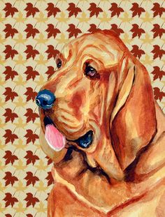 Bloodhound Fall Leaves Portrait 2-Sided Garden Flag