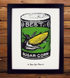 Featuring a can of sugar corn, this vintage-inspired poster would make a handsome addition to any kitchen.