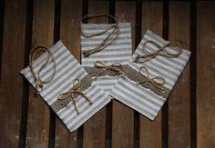 Set of 3 eco gift bags. Small fabric gift bag.Linen gift bag.