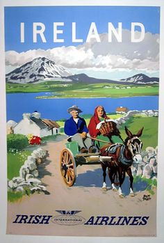 The Travel Tester vintage travel poster collection. It's time to get nostalgic with this week's retro showcase: Vintage Travel Posters Ireland. Vintage Advertisements, Vintage Ads, Vintage Airline, Vintage Advertising Posters, Photo Vintage, Poster Ads, Tourism Poster, Movie Posters, Vintage Travel Posters
