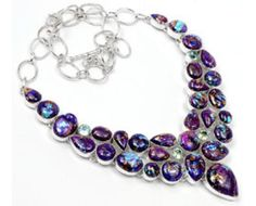 Unique 925 sterling silver Purple Copper Turquoise And Blue Topaz Gemstone Cluster Necklace